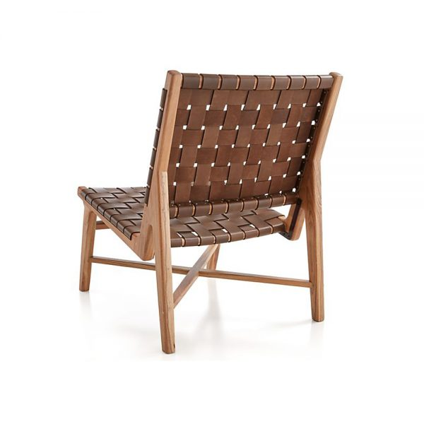 Anya Lounge Teak Leather, 62W x 75D x 82H cm