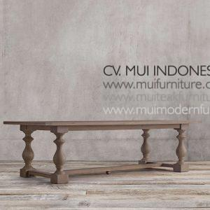 Bubutan Leg Rectangular Teak Table, 220W x 100D x 75H cm