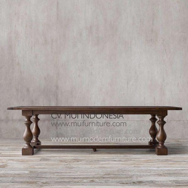 Bubutan Leg Rectangular Teak Table-brown