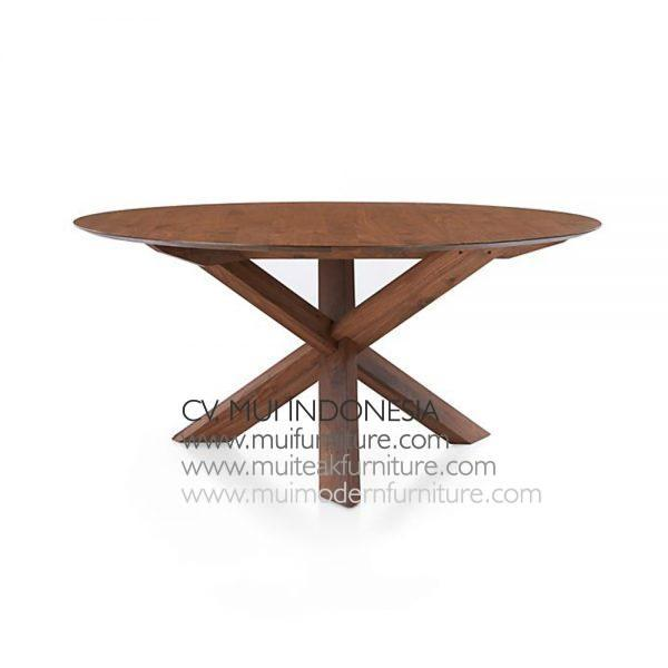 Cross Join Leg Round Table Teak