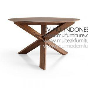 Cross Join Leg Round Table small Teak, 120Dia x 75H cm