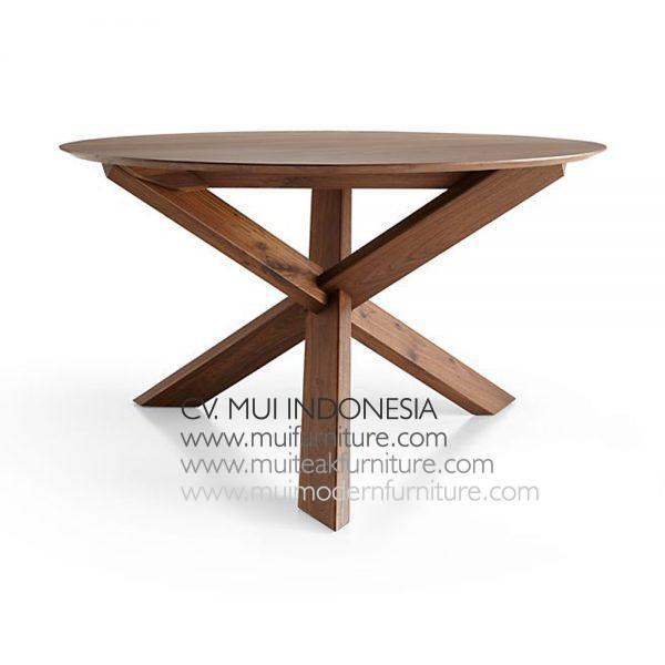 Cross Join Leg Round Table small Teak, 120Dia x 75H cm