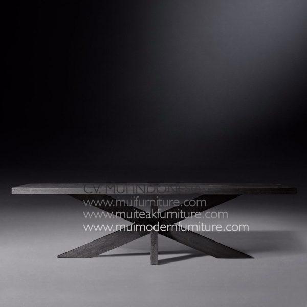 Cross Leg Rectangular Table Teak-Black