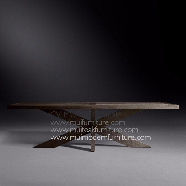 Cross Leg Rectangular Table Teak-dark brown
