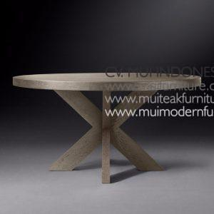 Cross Leg Round Table Teak, 140Dia x 75H cm