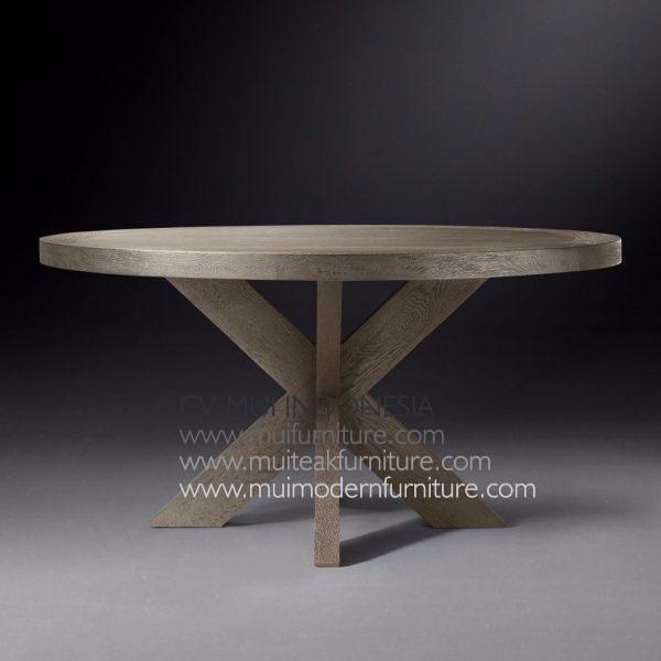 Cross Leg Round Table Teak, 140Dia x 75H cm