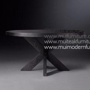 Cross Leg Round Table Teak-Black