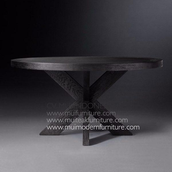 Cross Leg Round Table Teak-Black