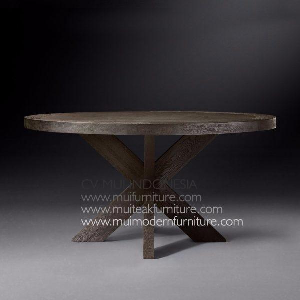Cross Leg Round Table Teak-Dark Brown