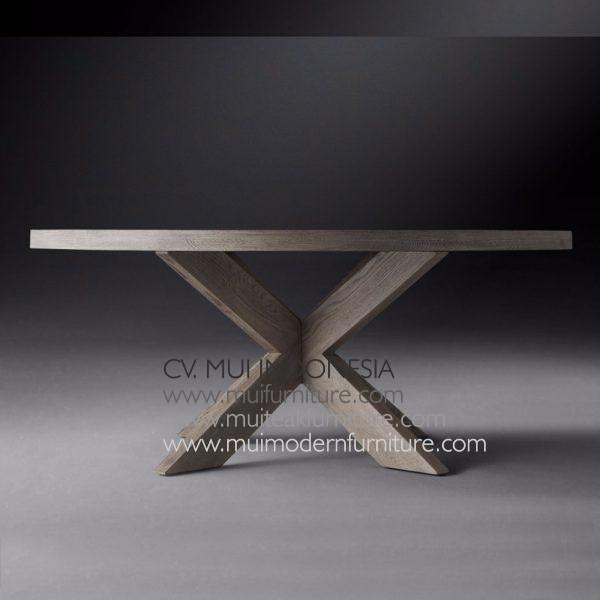 Cross Leg Round Table Teak-Grey