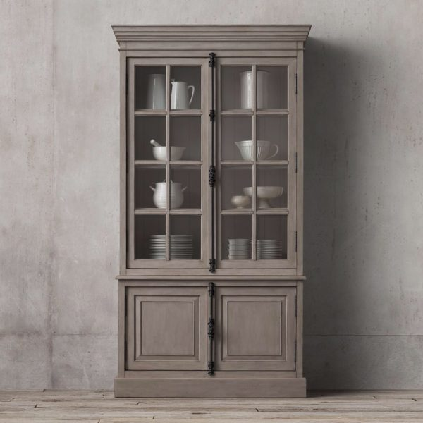 Display French Buffet 2 door Wide Teak Grey