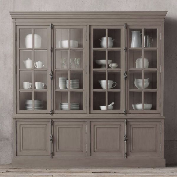 Display French Buffet 4 door Wide Teak-Grey