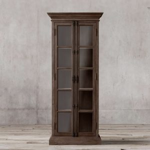 Display French Double door teak-Dark Brown