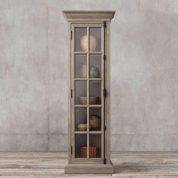 Display French Single door teak,50W x 50D X 210H cm