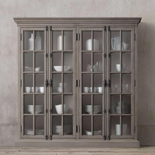 Display French Wide 4 door teak-Grey