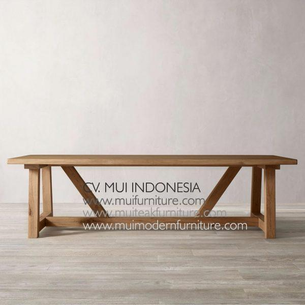 Leg A Table Teak wood, 220W x 100D x 75H cm
