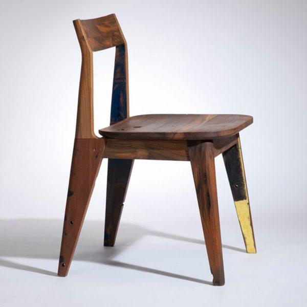 Leg Chair Reclaimed Teak Color, 47W x 50D x 73H cm