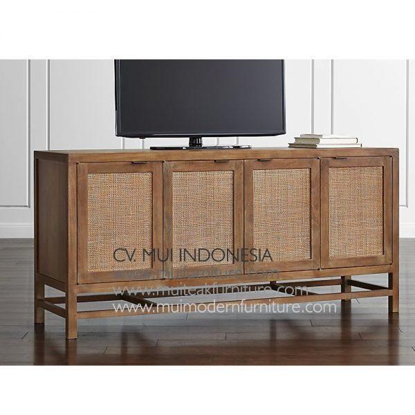Lenna Tv Stand Teak Rattan, 170W x 50D x 82H cm