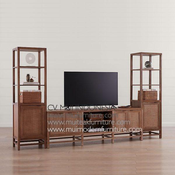Lenna Tv Stand set Teak Rattan, 170W x 50D x 82H cm