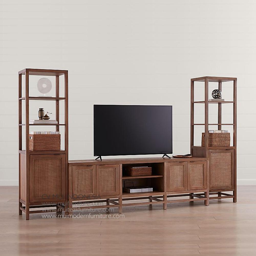 Lenna Tv Stand Set Teak Rattan Teak Furniture