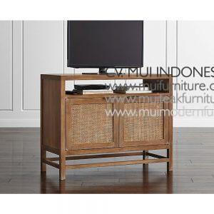 Lenna Tv Stand small Teak Rattan, 100W x 48D x 82H cm