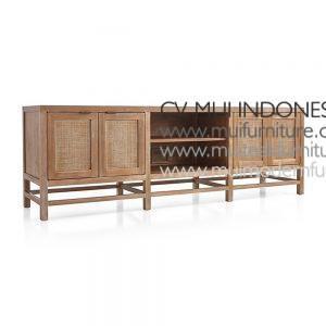 Lenna Wide Tv Stand Teak Rattan, 200W x 50D x 82H cm