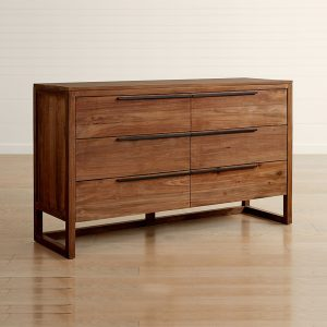 Lini Natural Teak 6 Drawer, 140W x 52D x 90H cm