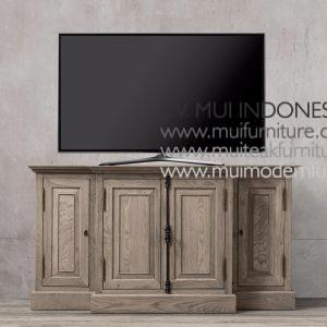 Panel Teak French Tv Stand, 140W x 50D x 80H cm