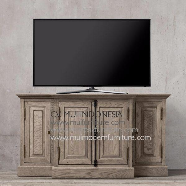 Panel Teak French Tv Stand, 140W x 50D x 80H cm