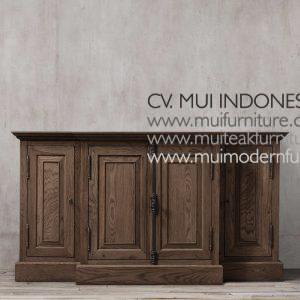Panel Teak French Tv Stand-dark brown