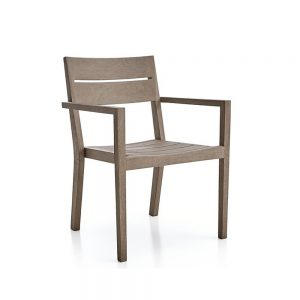 Regina Grey Dining arm chair Teak, 60W x 62D x 85H cm