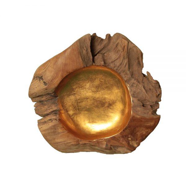 Root Teak Bowl Gold Leaf