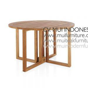 Round Folding Teak Table Natural