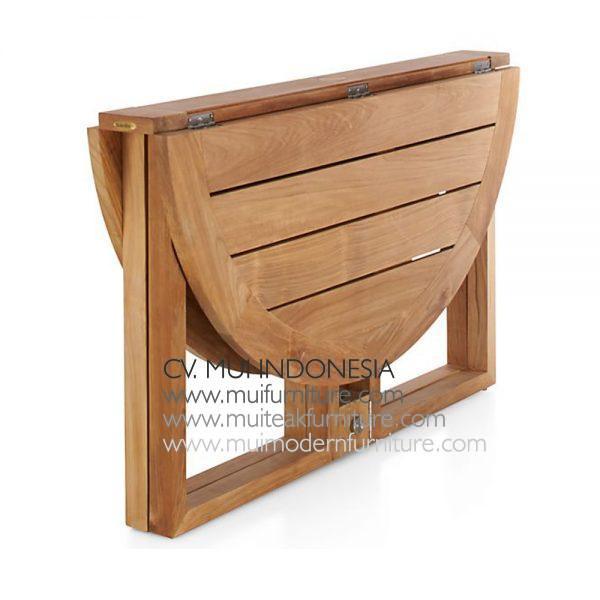 Round Folding Teak Table Natural
