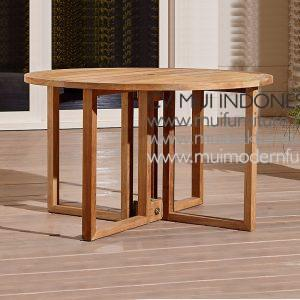 Round Folding Teak Table Natural, Dia 120 x 75H cm