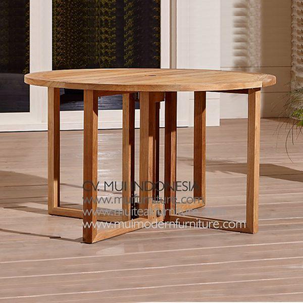 Round Folding Teak Table Natural, Dia 120 x 75H cm