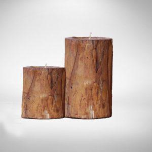 Teak Candle Set, 15Dia x 20~25H cm