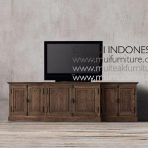 Teak Panel French Sideboard-dark brown
