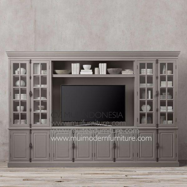 Wide French Tv Cabinet-dark brown